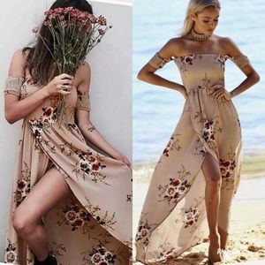 Boho off shoulder cinched khaki florals dress
